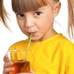 Girl with apple juice — Stock Photo #9963321
