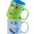 Coffee cup with a grin — Stock Photo