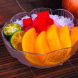 Shaved Ice dessert and Fresh fruits — Stock Photo