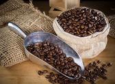 Black roasted coffee beans — Stock Photo
