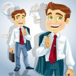 Happy businessman is going home after a long intense day — Imagen vectorial