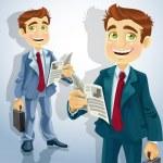 Cute businessman read a summary of the news — Stock Vector