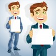 Cute businessman show the form for presentation — Stock Vector