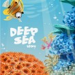 Banner deep blue sea with coral reefs and sea anemones — Stock Vector