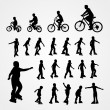 Big set vector silhouette of roller skating and bicyclist — Stock Vector #12125017