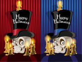 Terrible banner with a skull in the cylinder - Happy Halloween — Stock Vector