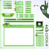 Elements for eco friendly web design. Green set — Stock Vector