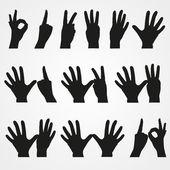 Jeu d'illustrations des nombres sous la forme des mains de 1 à 10 — Vecteur