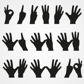 Set of illustrations of numbers in the form of hands from 1 to 10 — Stock Vector