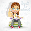 Joyful schoolgirl reading a book while sitting on a pile of books. Banner - back to school — Stock Vector