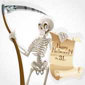 Skeleton with a scythe displays a poster with an invitation to a Halloween party — Stock Vector