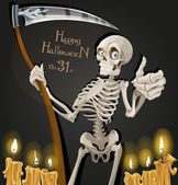 Death is a skeleton with a scythe - Halloween party invitation — Stock Vector