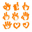 Orange brush strokes numerals-hands and heart — Stock Vector