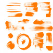 Royalty-Free Stock Vector Image: Orange brush strokes - textured strokes of different shape