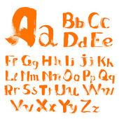 Handwritten by a textured brush alphabet — Stock Vector