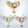 Award goblets - gold, silver and bronze with rosettes — Stock Vector