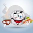 Watch smiley enjoying lunch break — Stock Vector