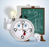 Horloge glimlach had het idee hoe te verbeteren het succes van het bedrijf — Stockvector