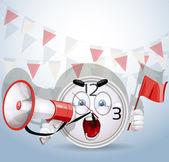 Glimlach schreeuwen kijken via een megafoon over het vennootschappelijk beste voorstel — Stockvector