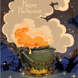 Halloween banner with the boiler - festive midnight October 31 - Stok Vektr