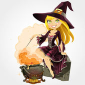 Beautiful witch in the boiler with a potion — Stock Vector