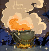 Halloween banner with the boiler - festive midnight October 31 — Stock Vector
