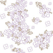 Seamless pattern of purple flowers lilac — Stock Vector