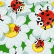 Stock Vector: Seamless background with daisies and baby ladybirds