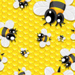 Seamless background with honey and baby bees — Stok Vektör