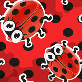 Red background with cute cartoon ladybug — Vector de stock