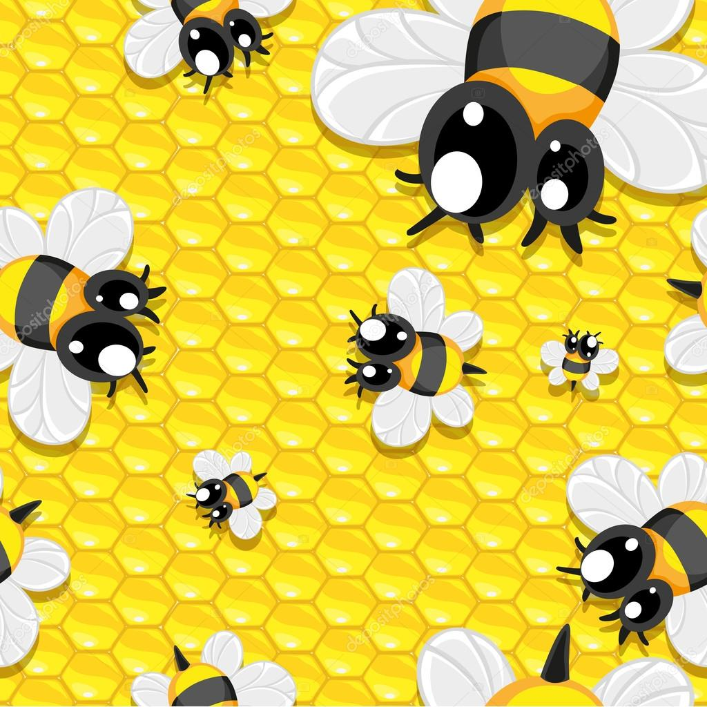 Seamless background with honey and baby bees — Векторная иллюстрация #12433761
