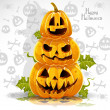 Happy Halloween banner with terrible pumpkins — Stock Vector