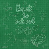 Back to school board doodles background — Stock Vector