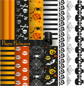 Happy Halloween vector paper and lace for scrapbook — Stock Vector