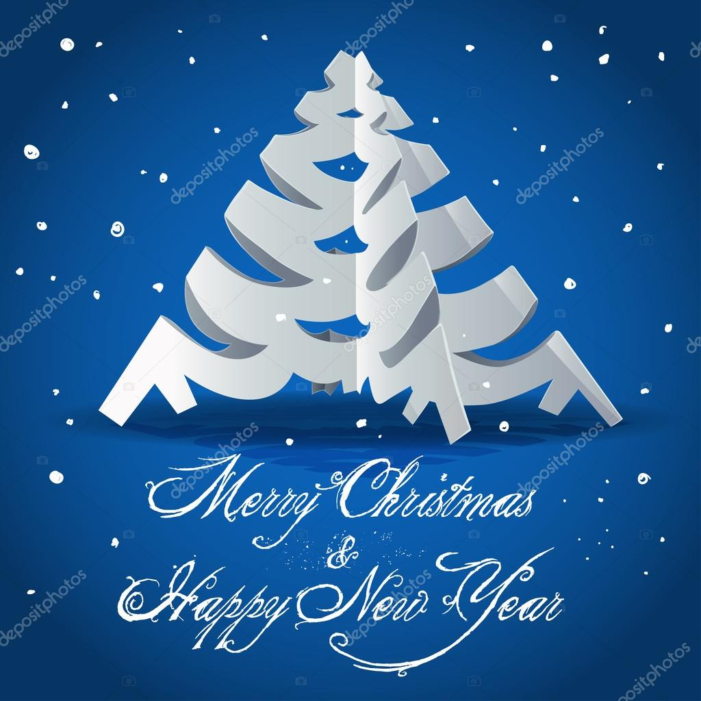 New Year card with Christmas tree cut out from paper — Stock Vector #12535723