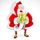 Cute Santa Claus give a gift — Stock Vector
