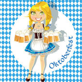Pretty Blond with a glass of beer celebrating Oktoberfest — Stock Vector