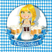Pretty Blond with a glass of beer celebrating Oktoberfest banner — Stock Vector