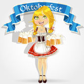 Pretty girl in traditional costume with a glass of beer celebrating Oktoberfest — Stock Vector