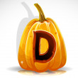 Stock Vector: Happy Halloween font cut out pumpkin letter D