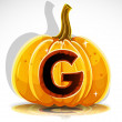 Happy Halloween font cut out pumpkin letter G — Stock Vector