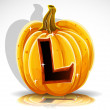 Happy Halloween font cut out pumpkin letter L - Stock Vector