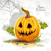 Happy Halloween font cut out pumpkin Jack — Stock Vector