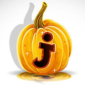 Happy Halloween font cut out pumpkin letter J — Stockvector