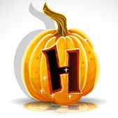 Happy Halloween font cut out pumpkin letter H — Stockvektor