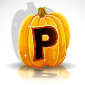 Happy Halloween font cut out pumpkin letter P — Vector de stock