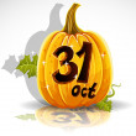 Gelukkig halloween lettertype uitgesneden pompoen 31 oktober partij — Stockvector