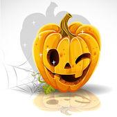 Halloween cut out pumpkin winking Jack — Stock Vector