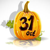 Happy Halloween font cut out pumpkin October 31 party — Stockvector