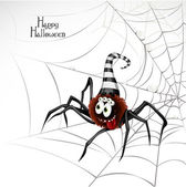 Happy Halloween banner with cute spider on the web — Stock Vector